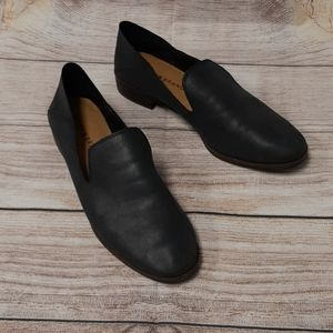 Black leather lucky brand black flats